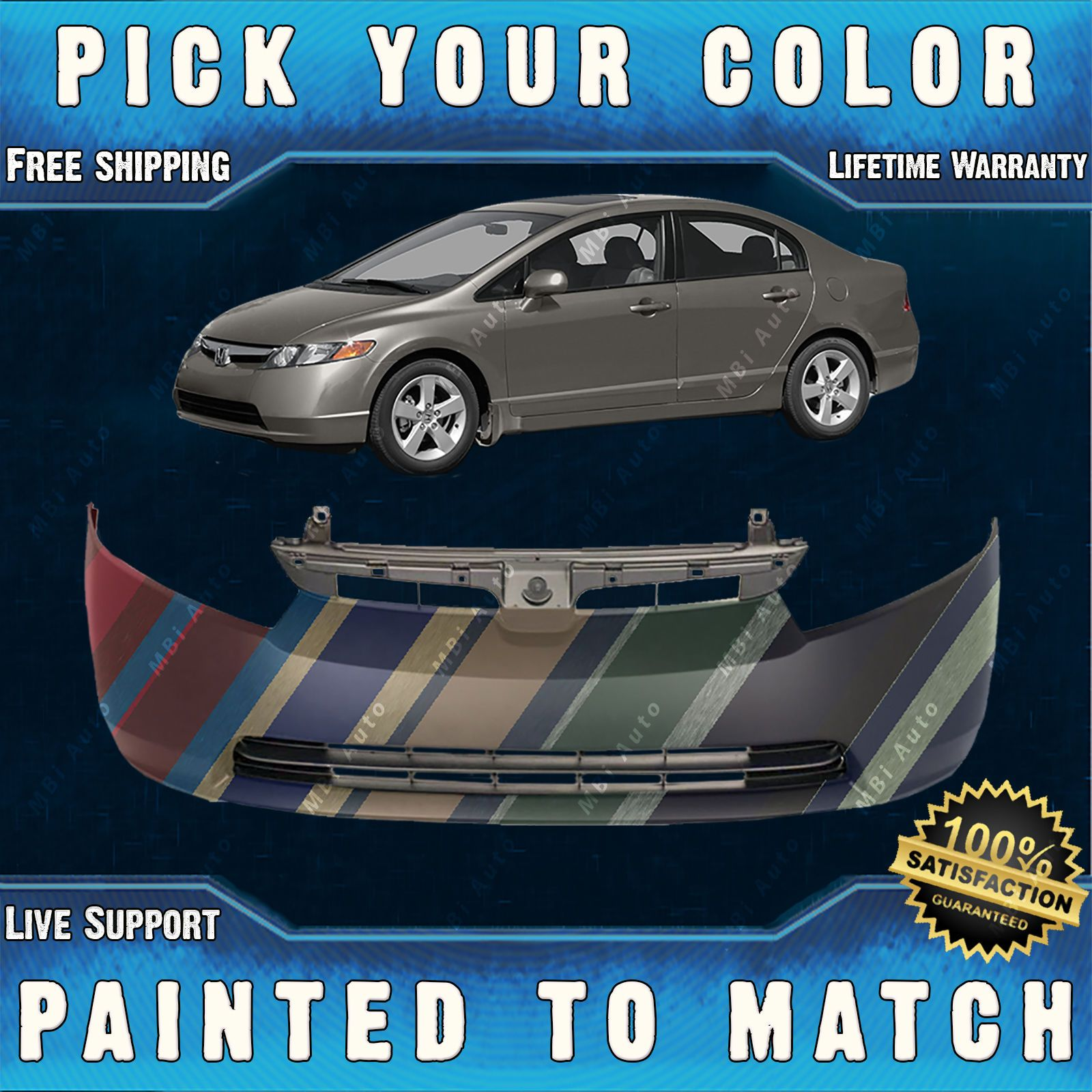 NEW Painted to Match Rear Bumper Cover for 2006 2007 Honda Accord Sedan /& Hybrid