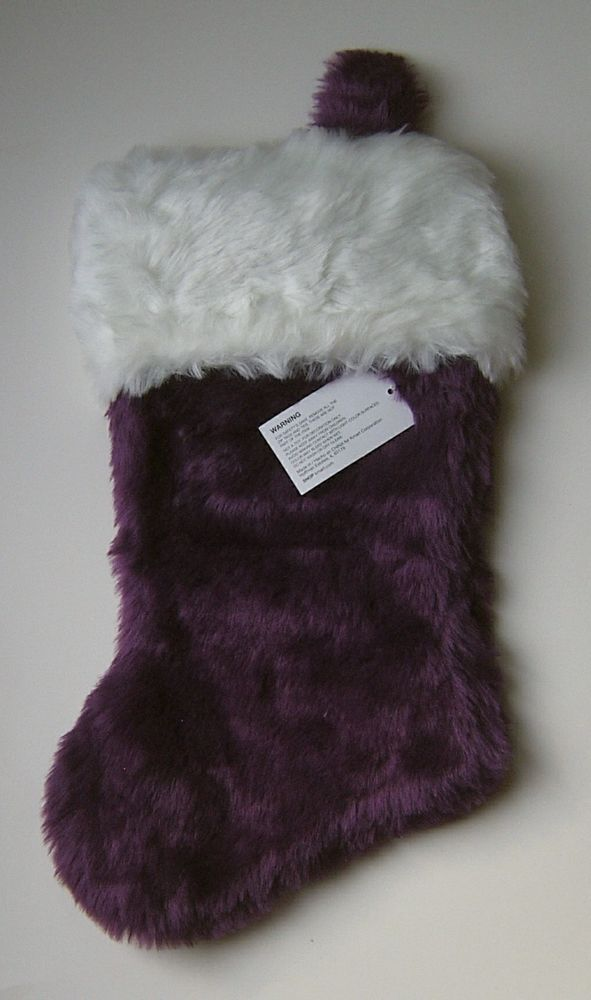 Super Plush Purple Christmas Stocking 19 in Faux Fur Merry Holiday Trim A Home #Disney