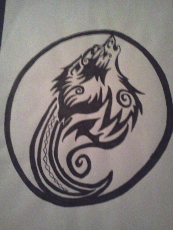 b84254758 Circle Circular Tattoo Designs Tribal wolf in circle tattoo ...