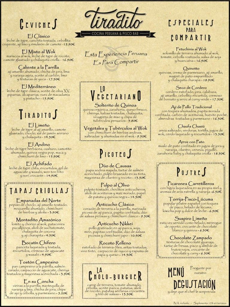 tiradito madrid carta cocina peruana | Peruvian Gastropub | Pinterest