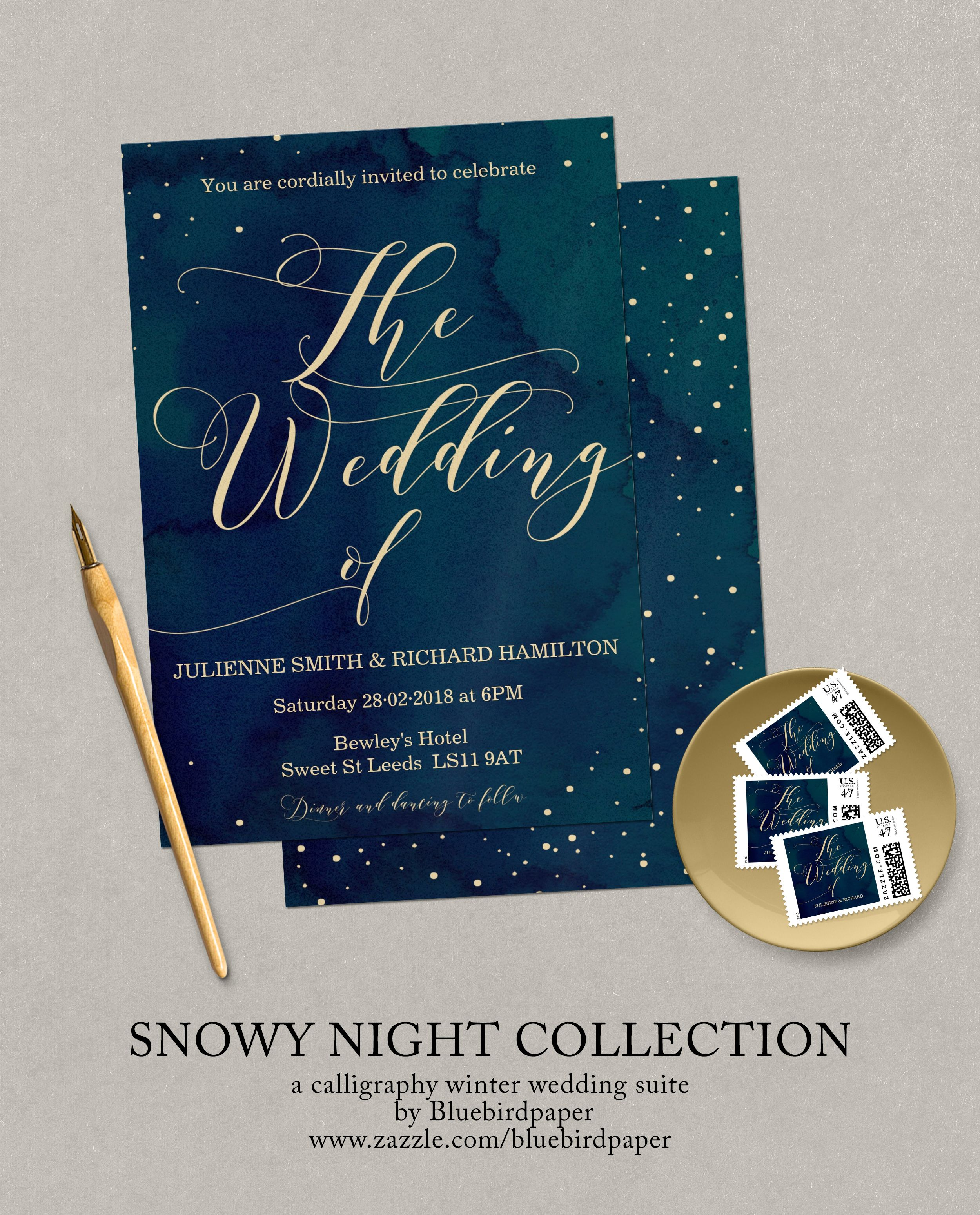 Snowy Night Collection A romantic calligraphy set, features a dark blue watercolor background with the wording in gold, perfect for any winter wedding. I do offer free wording and color customization, please contact with me at margherita@bluebirdinvites.com if you have any special request.