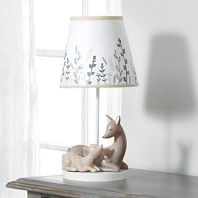 Lambs Ivy Meadow Deer Lamp With Shade And Cfl Bulb In Tan