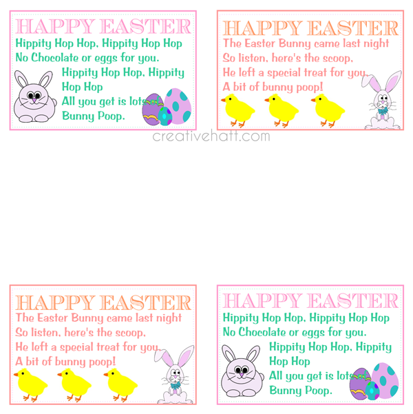Happy easter bunny poop gift tags free printables freebies and happy easter bunny poop gift tags free printables negle Gallery