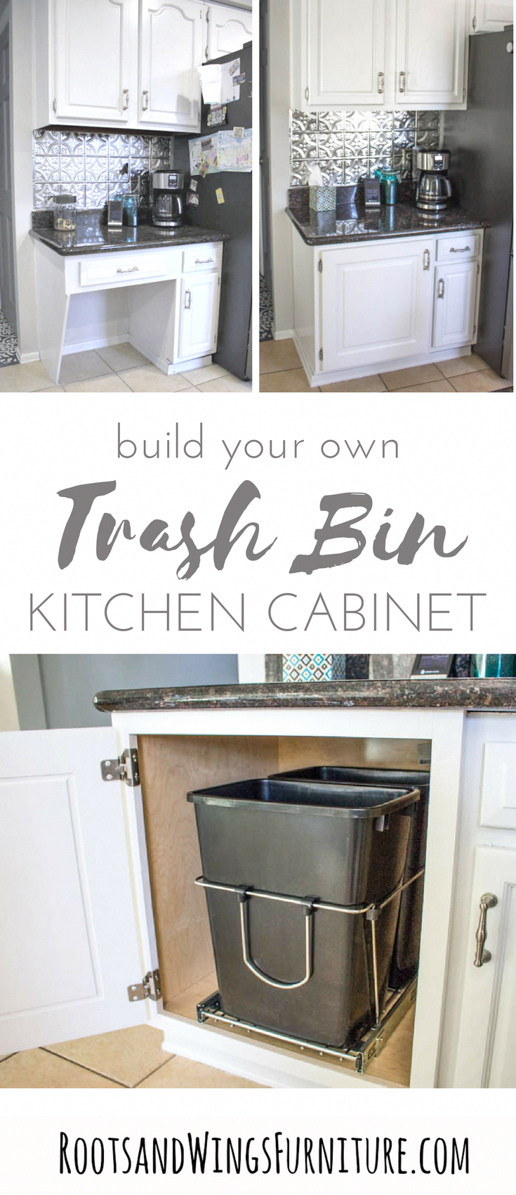 Take That Un Used Kitchen Desk Space And Turn Into Something Functional Add A Custom Base Cabinet With A Pul Diy Kitchen Kitchen Desks Diy Kitchen Renovation