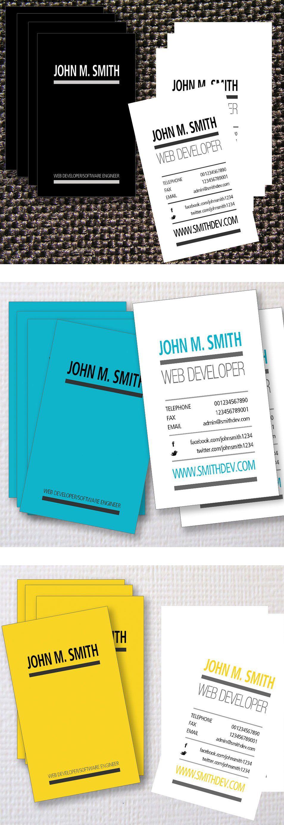 3 Typographic Web Developer Business Card Templates