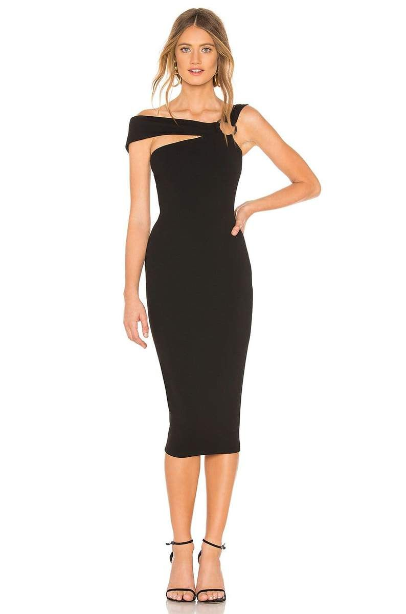 Asymmetrical Off Shoulder Bodycon Midi Dress Coktail Clothes