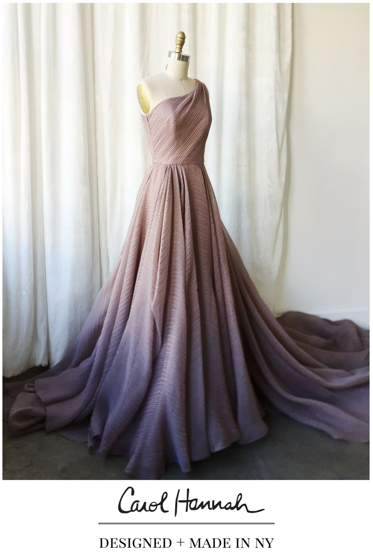 Nontraditional wedding or evening gown in iridescent purple and