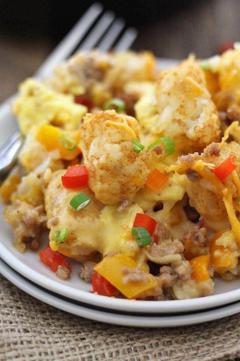 Next-Level Cheesy Breakfast Tator Tot Skillet   Recipe ...