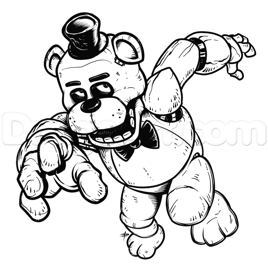 How to draw freddy fazbear five nights at freddys step 25 for Freddy coloring pages