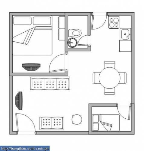 Dimensions Overall 6x6 Sqm Big Room 3 X 3 Sqm Small Room 2 X 1 5 Sqm Bath Room 1 X 2 Sqm Provision For Horizont Kamar Mandi Kecil Mandi Kamar Mandi