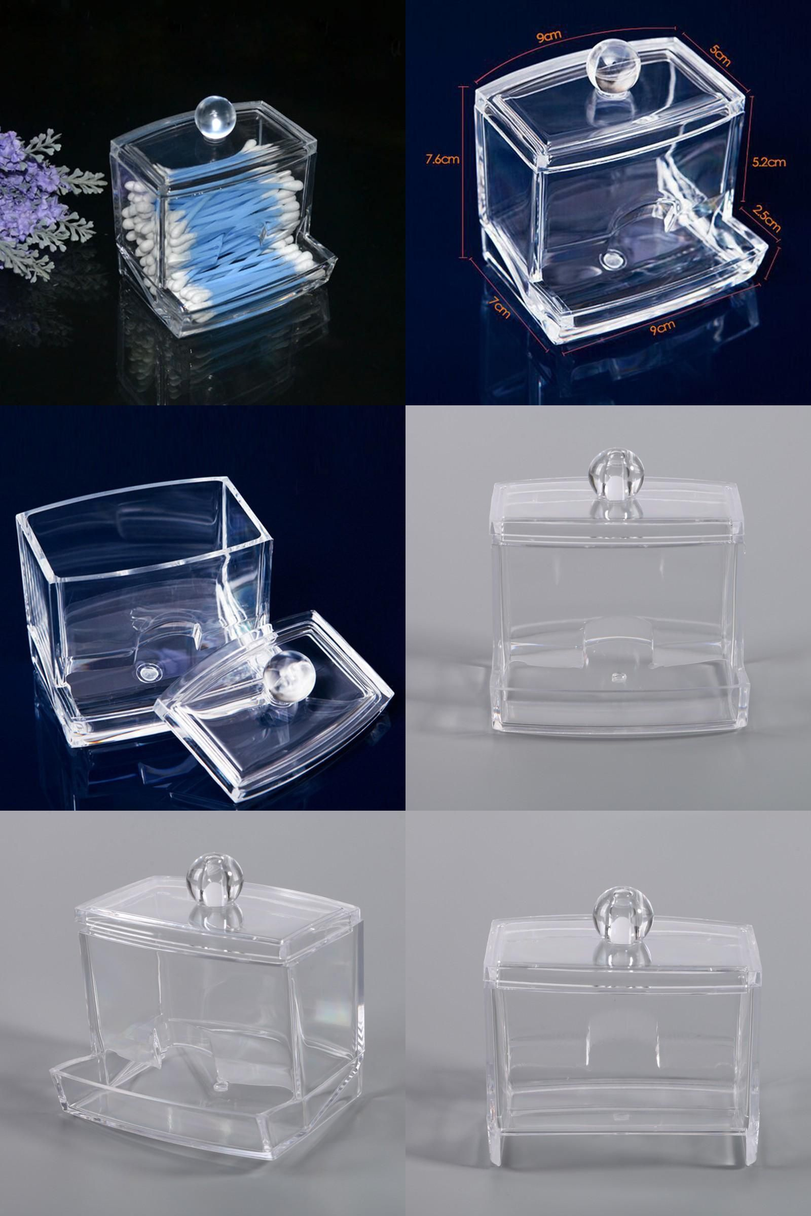 [Visit to Buy] Acrylic Clear Cotton Swab Q-tip Storage Holder Box Cosmetic