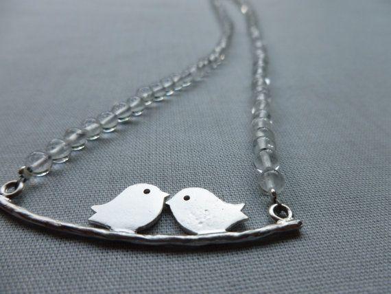 SALE Crystal Quartz Necklace Cute Lovebird Design by PoppyandGwyn, £20.50