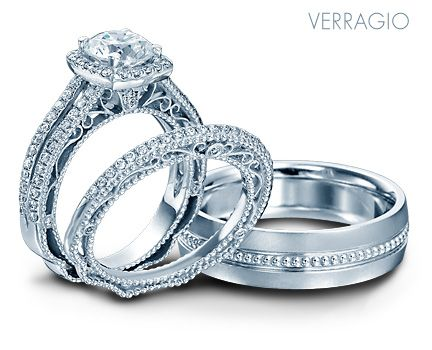 Verragio Bridal Trio With Engagement Ring And Wedding Rings From The Venetian Collection