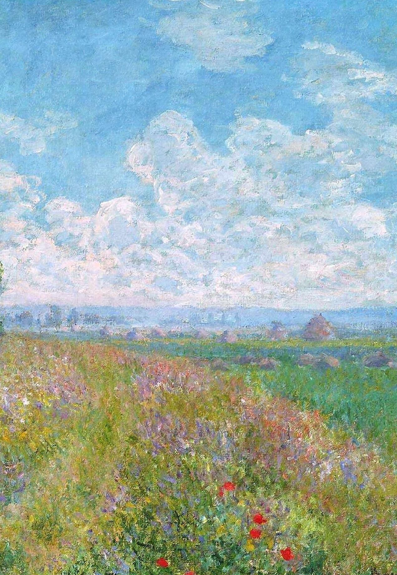 Landschaftsmalerei impressionismus  Meadow with Poplars' by Monet | art | Pinterest | Ballerina Malerei ...
