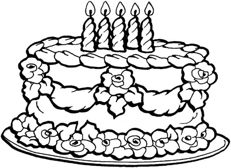 Birthday Cake Coloring Page Printable 1 Halaman Mewarnai Bunga Warna Gambar