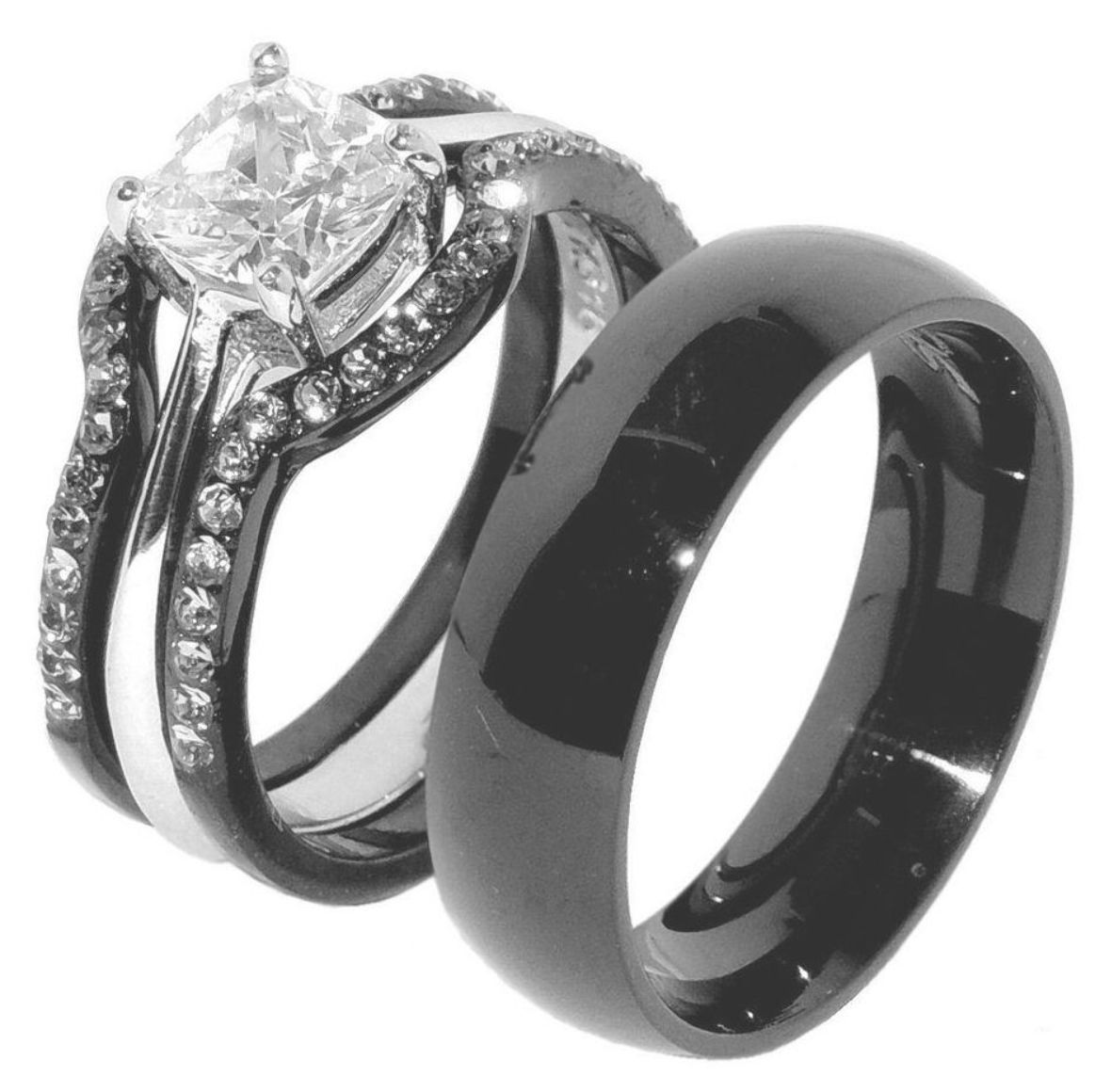 This Beautiful 4pcs His And Hers Black Ion Plated Stainless Steel Wedding Set Rings Include Black Wedding Rings Stainless Steel Wedding Ring Wedding Ring Sets