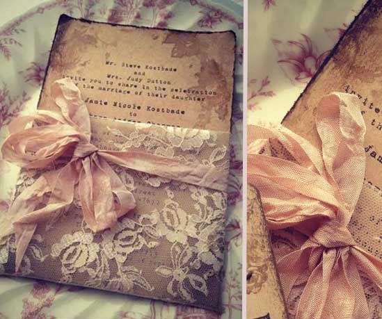 13. vintage einladungen zur hochzeit spitze rosa schleife, Einladungsentwurf