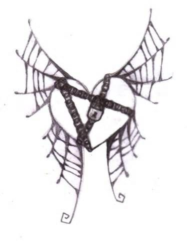 Heart With Chains And Cobweb Wings Tattoo Heart With Wings