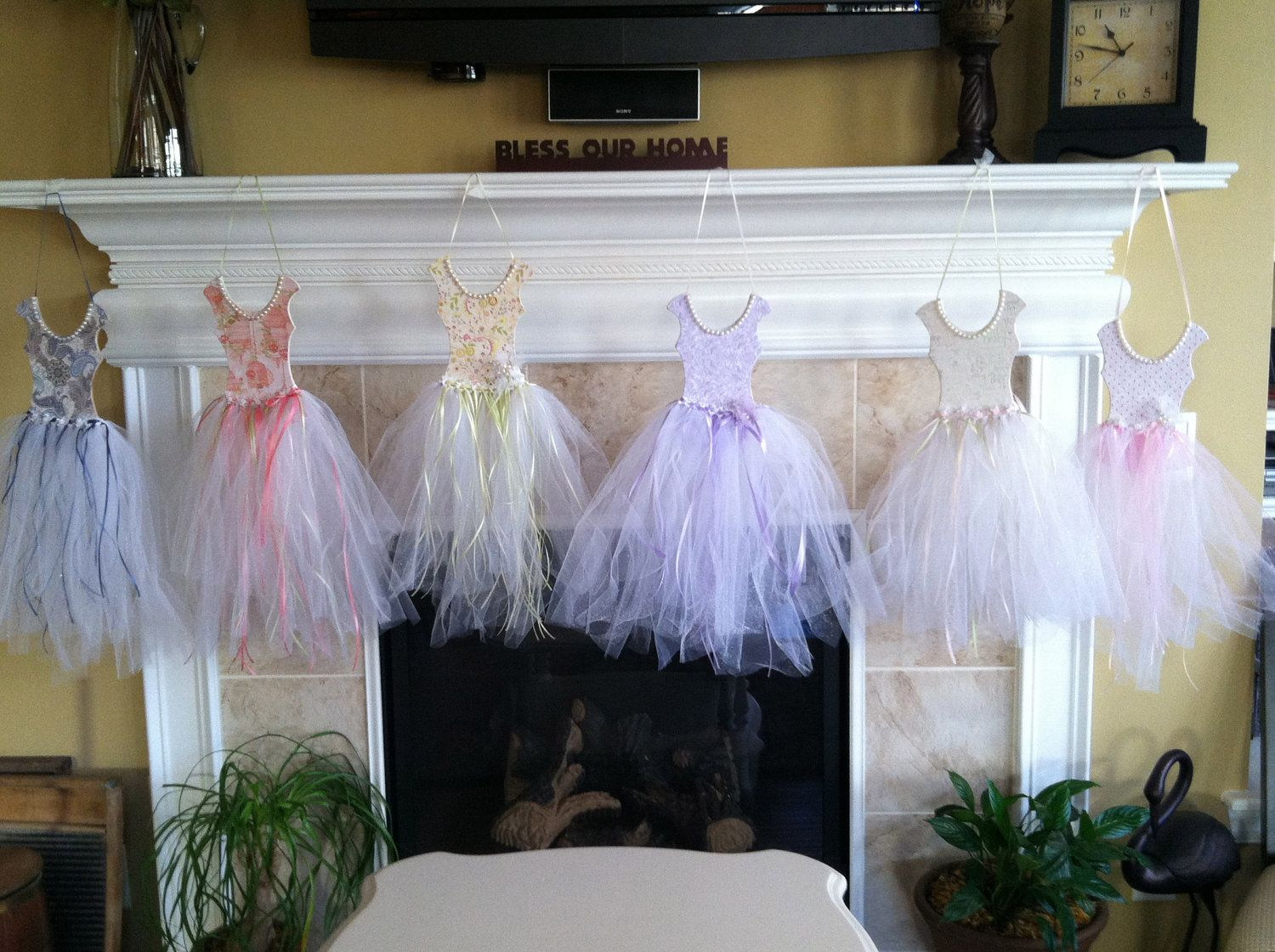 Ballerina princess wall art with tutu, tulle, pearl, and