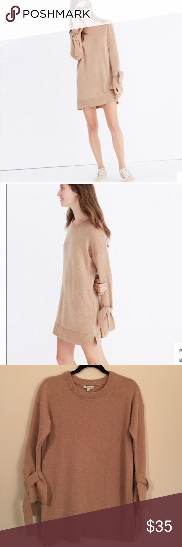 68cc2bf384 Madewell • Tie Cuff Sweater Dress 100% Merino wool sweater dress. Small  pinholes In