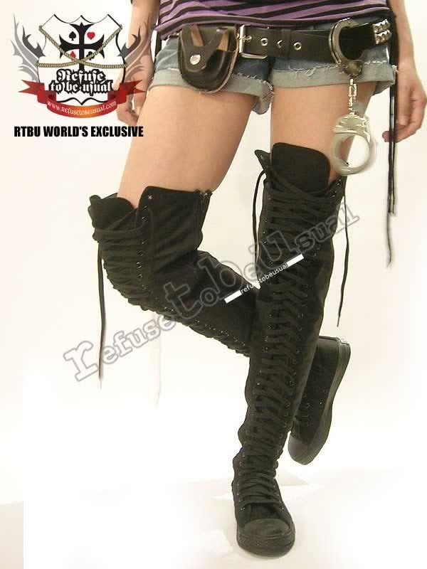 4896b904deb3 PUNK EMO Goth THIGH HIGH Canvas Lace Up Sneaker Boots