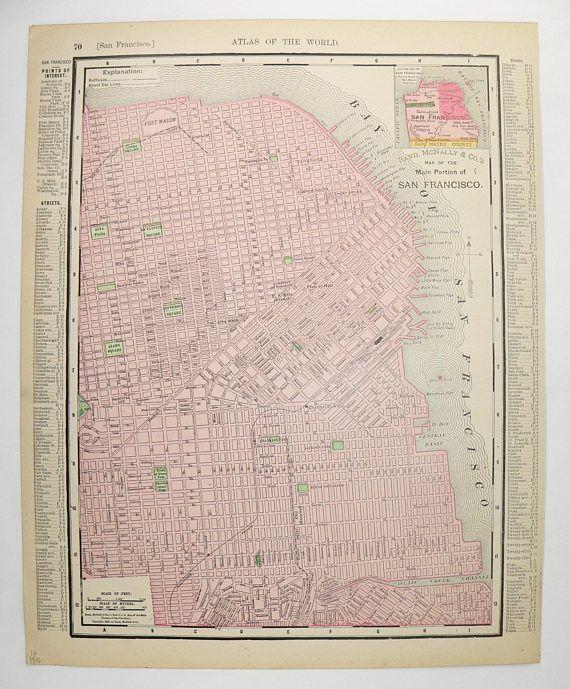 san francisco map 1900 Antique Map California San Francisco Map 1900 Vintage California