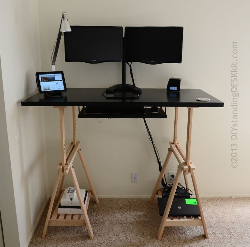 Standing Desk In Black With Dual Monitor Stand And Keyboard Tray