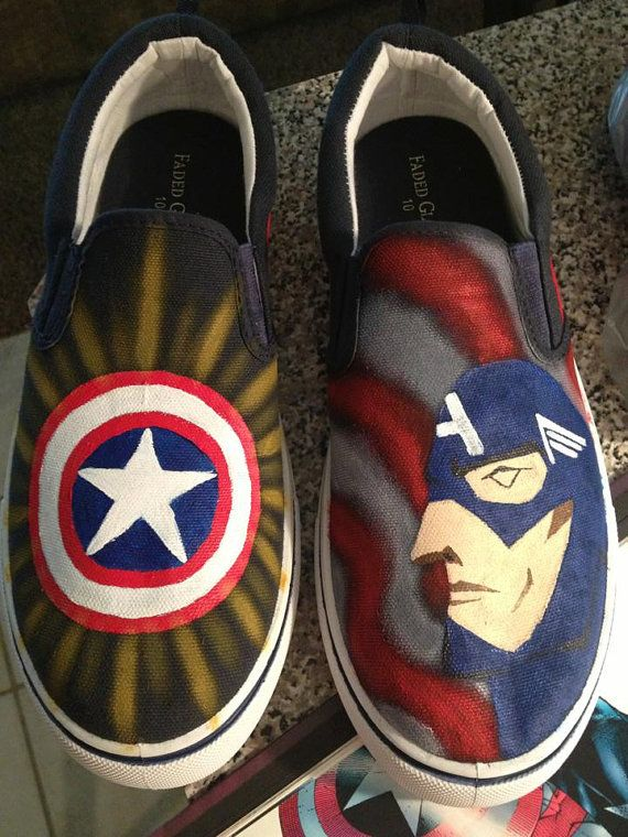 Captain America Avengers hand painted shoes | Painted shoes