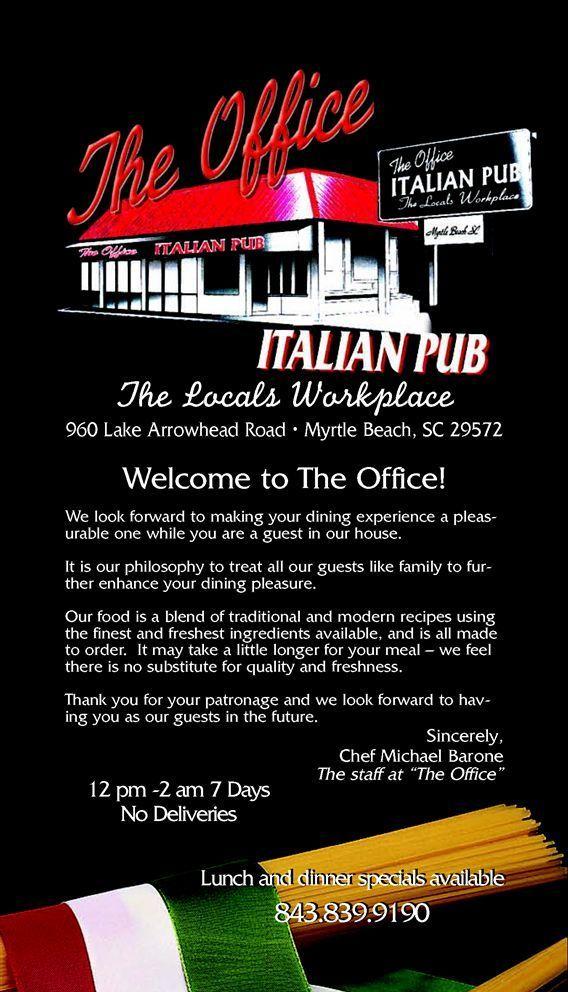 The Office Italian Pub Myrtle Beach Restaurants Sc Restaurants Myrtle Beach