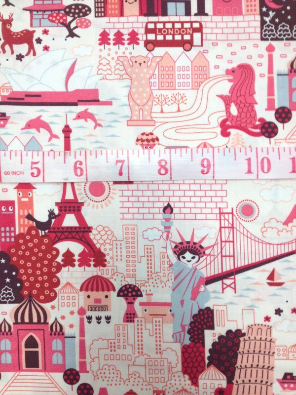 Anime Japanese Kawaii Deco Cute Cartoon World Travel Girl Pink ... : print pictures on fabric for quilts - Adamdwight.com