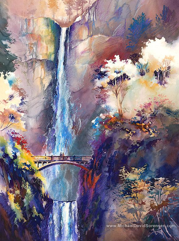 Memories at Multnomah Falls -Watercolor Painting Print by ...
