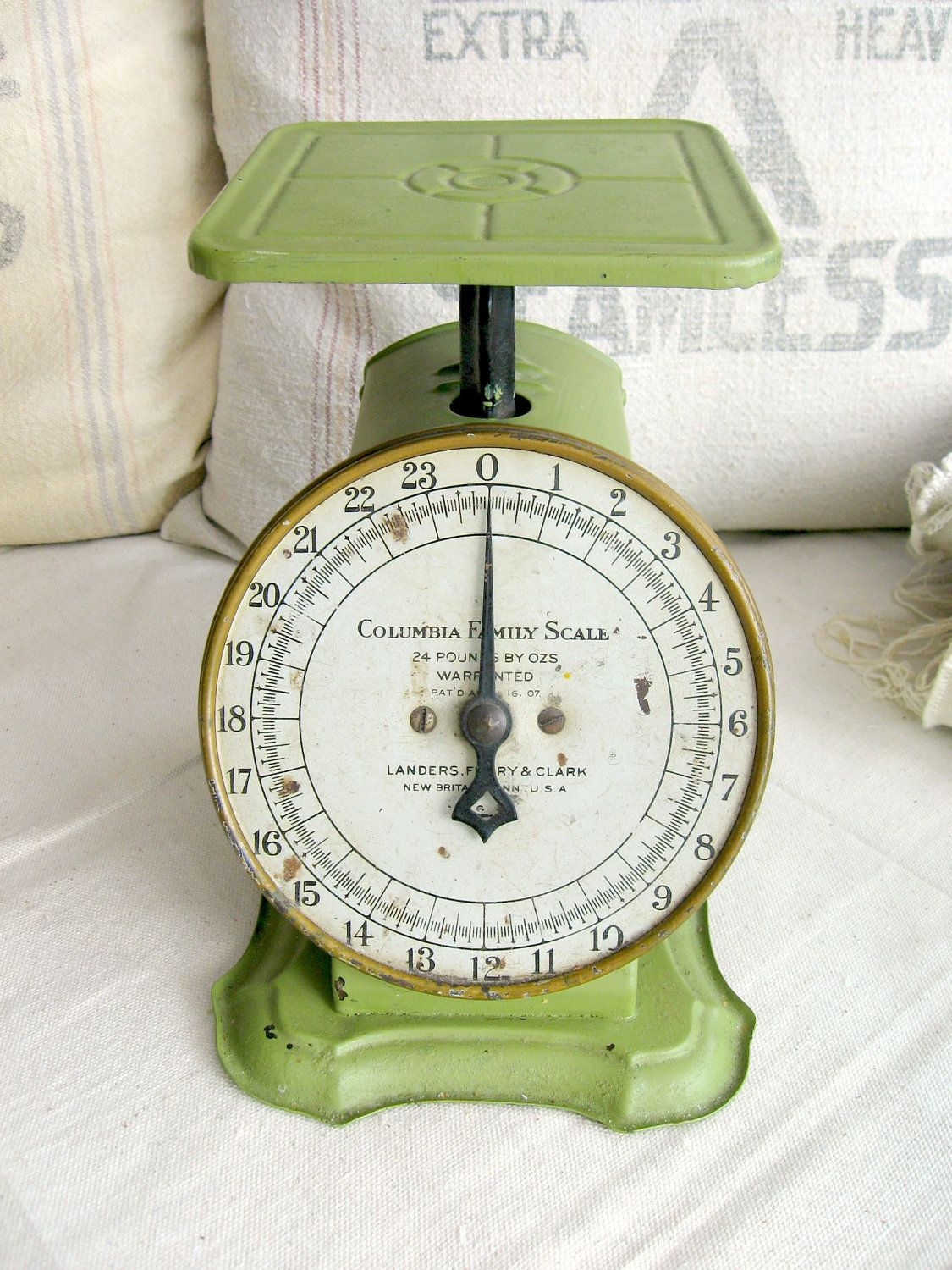 Vintage Kitchen Scale Green Way Rite Scale  Lbs Antique - Country kitchen columbia mo