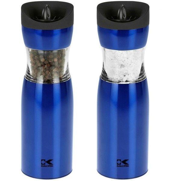 Kalorik Gravity Electric Salt & Pepper Grinder Set (Blue) featuring polyvore, home, kitchen & dining, serveware, blue, salt pepper mill, salt grinder, salt and pepper grinder, kalorik pepper grinder and kalorik