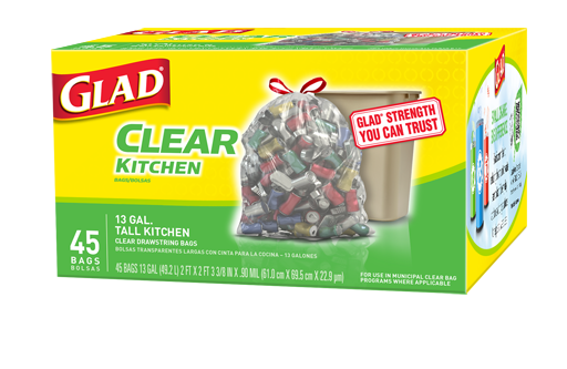 Clear Recycling Bags Tall Kitchen Drawstring Recycle
