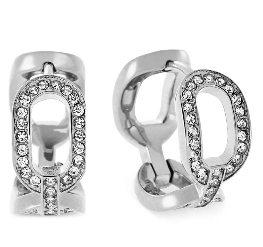 33cf5c1ba Michael Kors SET-Chain Link Huggie Earrings & Silver Tone Crystal Link  Station Necklace