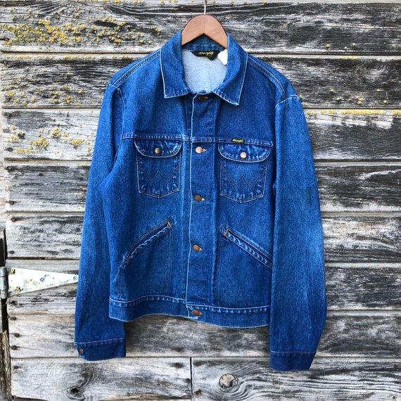 3eb9d05d28d 70s vintage Wrangler No Fault Denim jacket size 44 14 oz faded blue jean  jacket late 60s rockabilly grunge trucker jacket men L large 46
