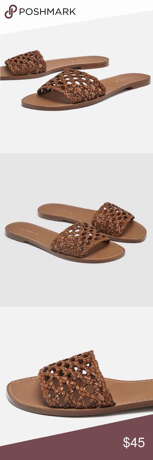Zara Braided Slip On Sandals Zara braided slip on slides.  Brown woven design.  Size 37.  Worn once-...