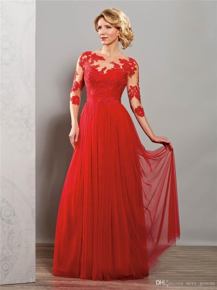 2016 red modest chiffon beach bridesmaid dresses with 34 sleeves 2016 red modest chiffon beach bridesmaid dresses with 34 sleeves long floor formal appliques wedding guests dress hy1419 ombrellifo Choice Image