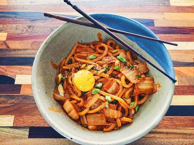 Thanks @bonappetitmag for the killer recipe! #kimchiudon #chefjohnnymet
