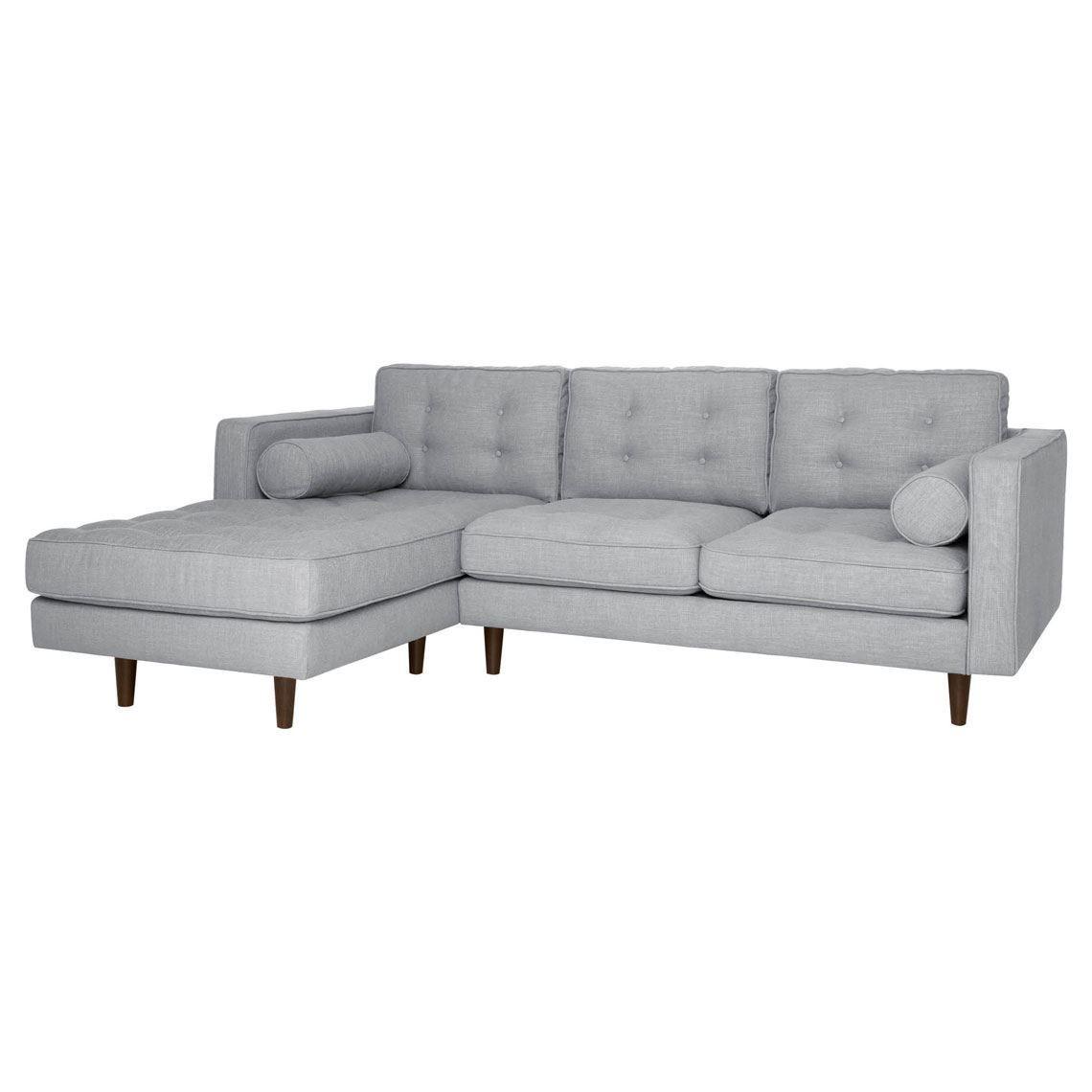 Copenhagen 2 Seat Fabric W Left Chaise Size W 229cm X D 177cm X H 83cm In Light Grey Fabric Foam Fibre Freedom In 2020 Modular Sofa Sofa Mid Century Design