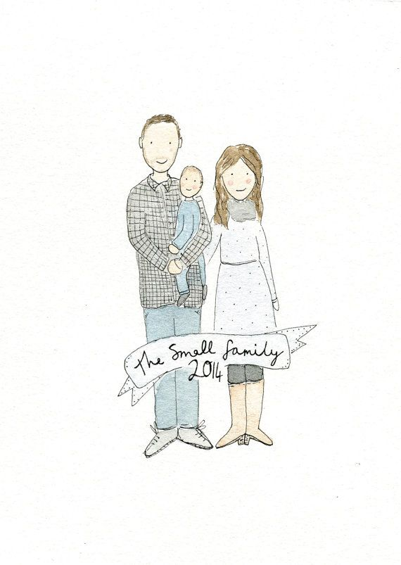 Family Portrait Illustration Custom Portrait Watercolour