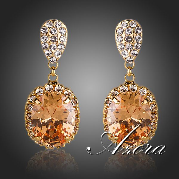 Cheap Drop Earrings, Buy Directly from China Suppliers:                         AZORA Brand Design Unique 18K Rose Gold Plated Clear Swiss Cubic Zirconia Bangle Bracelet TB004