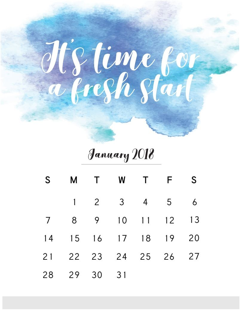 Quotes January January 2018 Calendar With Quote  Maxcalendars  Pinterest