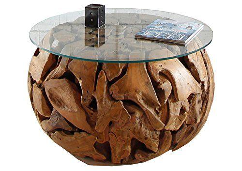 Teakholz Wurzel Couchtisch Rund Mit Glasplatte Xilon Teak Holz