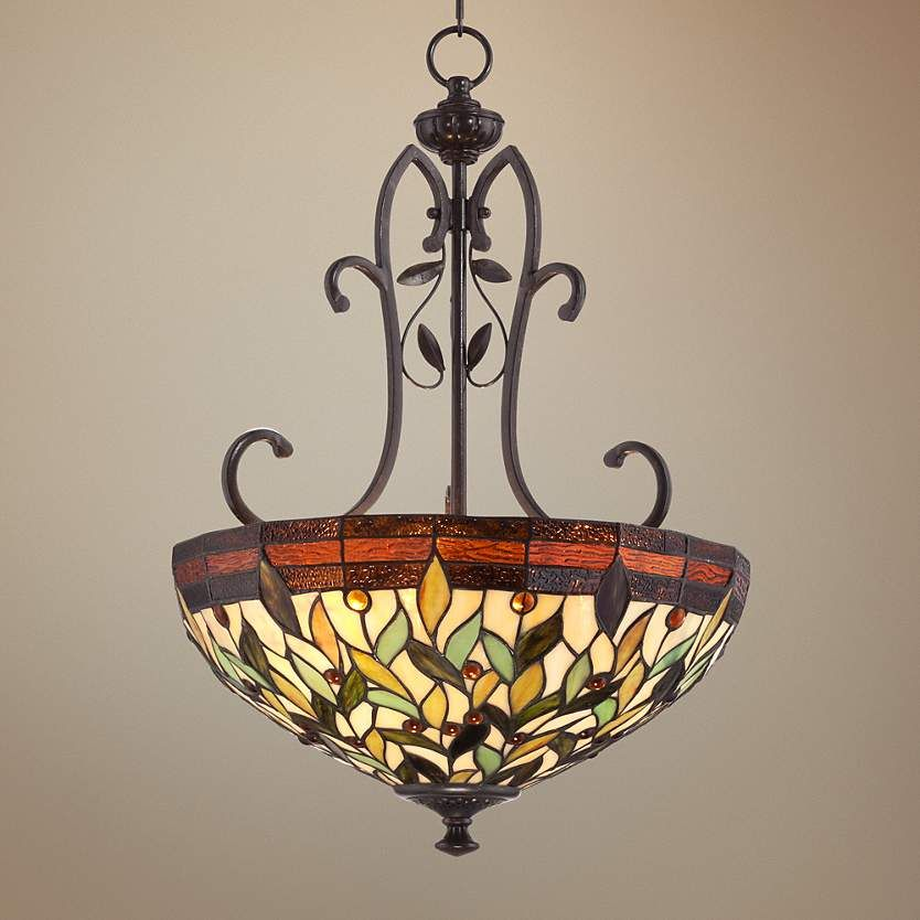 A Classic Bronze Tiffany Style Chandelier Highlighted By Vibrant