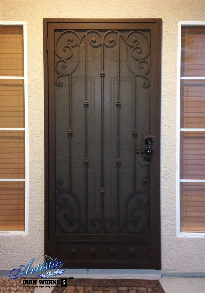 Scrolled wrought iron security door sd0164 wrought for Door design of iron