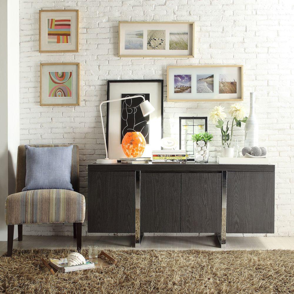 INSPIRE Q Buona Dark Grey/ Brown Metal Band Sideboard Storage Buffet Server  - Overstock