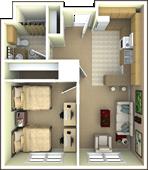University Park Apartments 2 Person 1 Bedroom 1 Bathroom Apartment Floor Plan Apartment Layout Apartment Floor Plan Small Apartments