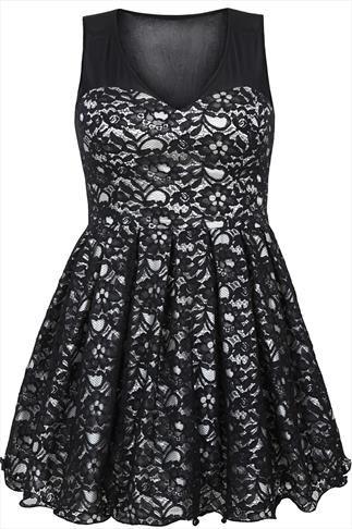 Black & Ivory Floral Lace Sleeveless Skater Prom Dress | fashion ...