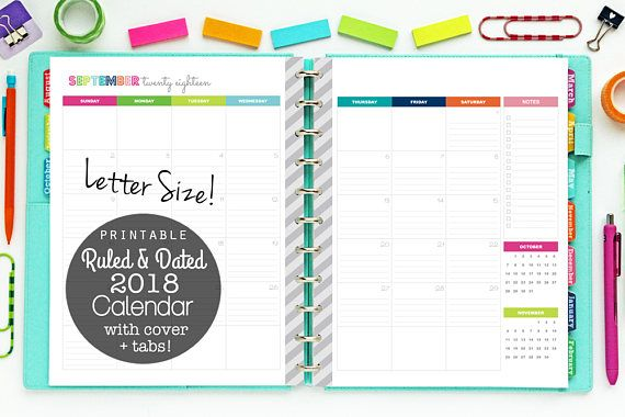 2 page monthly calendar 2018